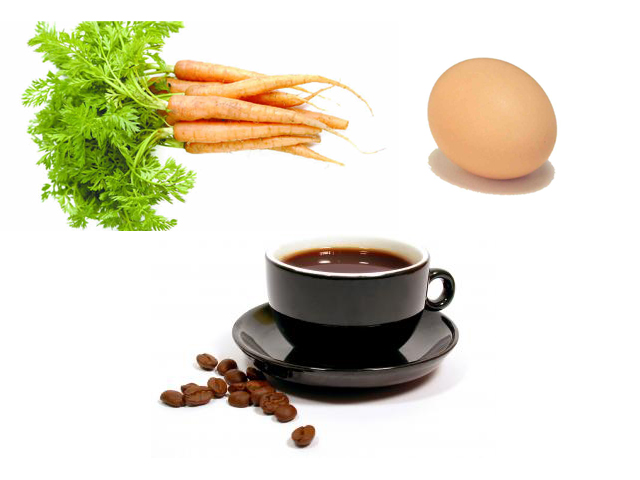 Image result for A carrot, an egg, and a cup of coffee